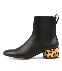HALIE Ankle Boots in Black Leather/ Ocelot Pony Hair