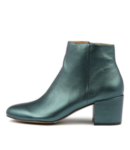 PAULOS Ankle Boots in Teal Metallic Leather