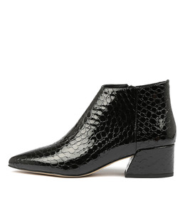 ORENE Ankle Boots in Black Croc Patent Leather