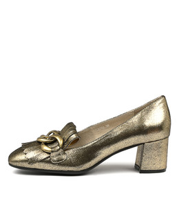 RAYNA Mid Heels in Gold Leather