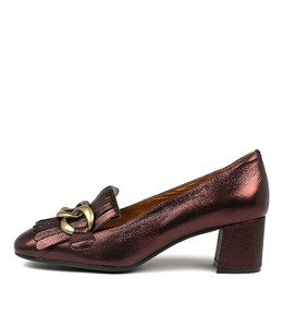 RAYNA Mid Heels in Burgundy Metallic Leather