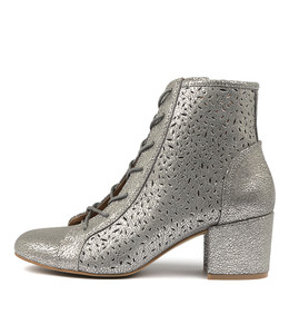 PRICE Ankle Boots in Blue Grey Crackle Leather