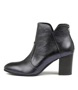 UPCLIMB Ankle Boots in Navy Metallic Leather