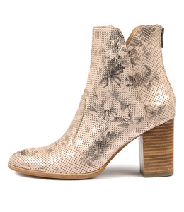 ABBIE Ankle Boots in Pale Pink Floral Leather