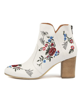 UPING Ankle Boots in White Embroidered Leather