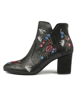 UPING Ankle Boots in Black Embroidered Leather