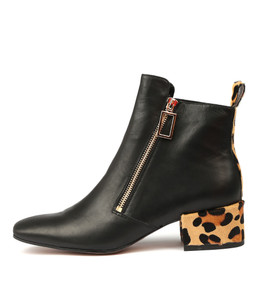 HAKIMS Ankle Boots in Black Leather/ Ocelot Pony Hair