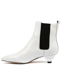 CATHY Ankle Boots in White Patent Leather