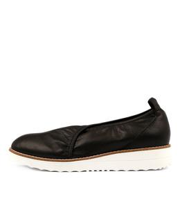 OBABE Flatforms in Black Leather