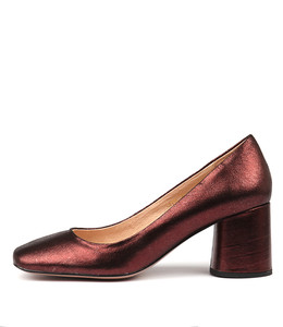 GAIGE Mid Heels in Burgundy Metallic Leather