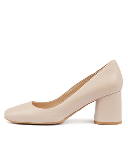 GAIGE Mid Heels in Nude Leather