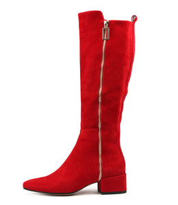 HADEN Knee High Boots in Red Suede