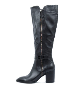 MACKAY Knee High Boots in Black Leather/ Multi Coloured Zip