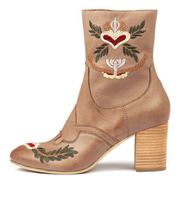 ULENA Ankle Boots in Smoke Embroidered Leather