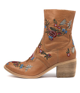 OTHEL Ankle Boots in Dark Tan Embroidered Leather