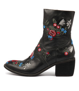 OTHEL Ankle Boots in Black Embroidered Leather