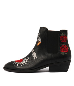 GOTGOT Ankle Boots in Black Embroidered Leather