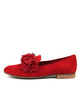 LEANA Flats in Red Suede