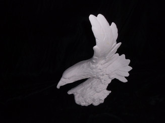 """Wood Carved Eagle in flight ceramic bisque ready to paint 12x9"""""""
