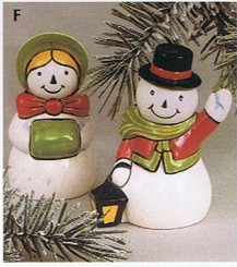 "Mrs and Mrs Snowman salt and pepper shakers 4"" high ready to paint"