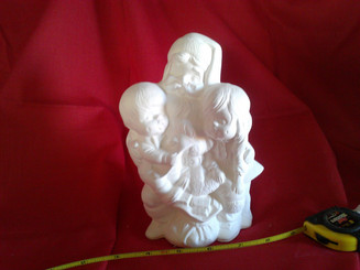 Santa with children ready to paint bisque