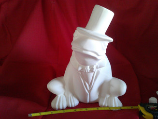 Frog in tophat ceramic bisque ready to paint