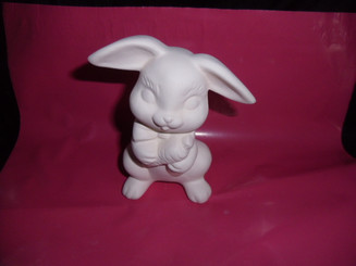 "Bunny with carrot 4.5"" tall ceramic bisque, ready to paint ready to ship"