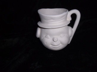 Frosty snowman cup ceramic bisque ready to paint ready to ship