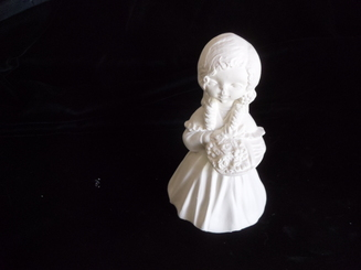 """Little Girl with Basket of Flowers, 6"""" Tall"""