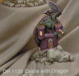 "Small Castle with Dragon 8""T"