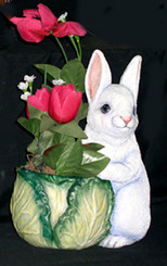 "Bunny Cabbage Planter Pot 11""T"