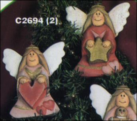 "2 Country Angels #1 3.25""T ornaments"