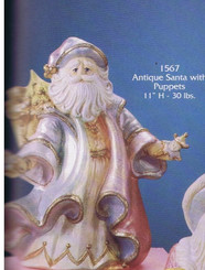 "Gare 1567 Antique Santa with puppets 11"" high ceramic bisque"
