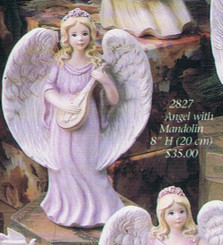 "Gare 2827  angel with mandolin 8"" tall  ceramic  bisque ready to paint"