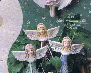 "Gare 2830 Angel ornaments set of 3 3""  high  ceramic  bisque ready to paint"
