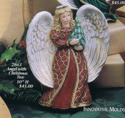 "Gare 2863 angel with Christmas tree  10"" high  ceramic  bisque ready to paint"