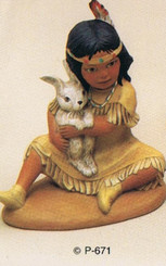 Provincial 671 Indian girl with bunny  ceramic bisque ready to paint