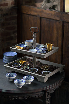 Wood Rectangle 2 Tier Tray