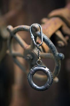 Antique Brass Life Saver Key Chain