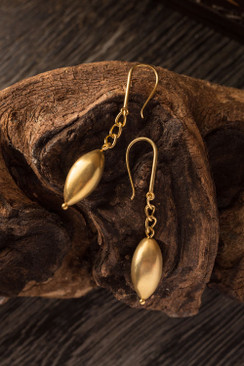 Matte Gold Plated Pod Earrings