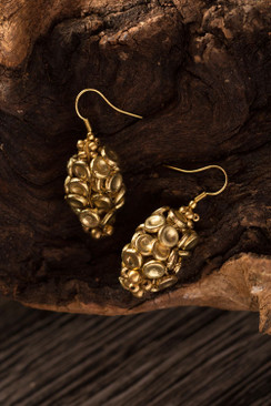 Gold Metal Button Earrings