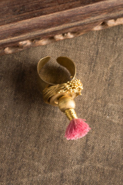 Pink Tassel Ring