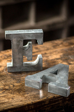 Metal Zinc Alphabet Set of 5 Vowels