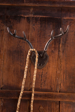 Pewter Antler Hook in Dark Metal