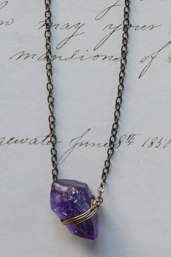 Gold Plated Amethyst Nugget Necklace
