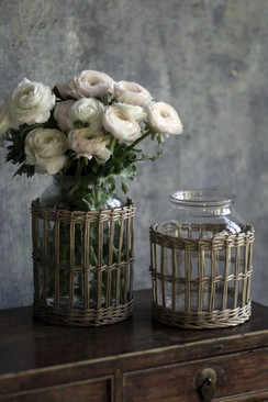 Glass and Wicker Vase