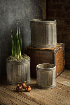 Metal Ribbed Dolly Planters - Set of 3