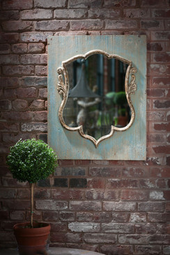 Distressed Wood Shield Mirror
