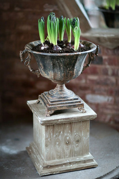 Distressed Black Metal Urn