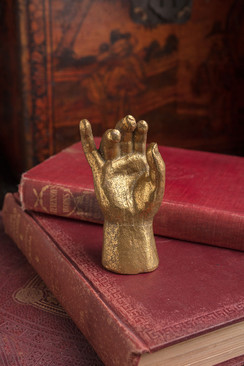 Heavy Pewter Gold Leaf Saint Hand - B